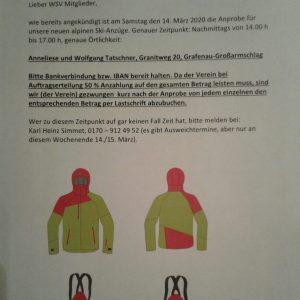 Termin enfällt! Anprobe Alpin-Ski-Anzüge